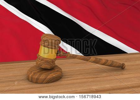 Trinidad And Tobago Flag Behind Judge's Gavel 3D Illustration