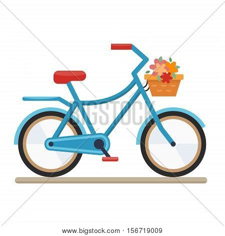 Woman bike. Bicycle on white background.Flat style vector illustration.