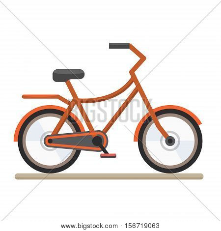 Red bike. Bicycle on white background. Flat style vector illustration.