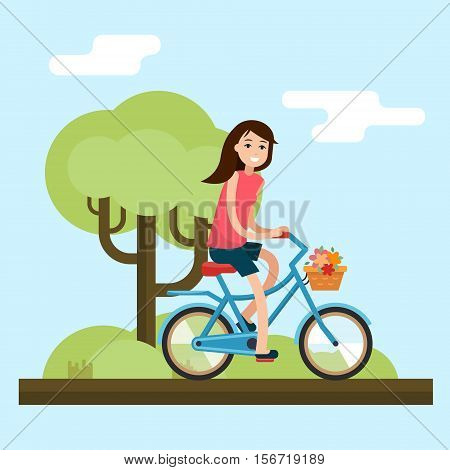 Woman on bike. Bicycle on city background. Flat style vector illustration.