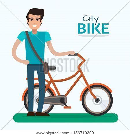 Man on bike. Bicycle on white background. Flat style vector illustration.
