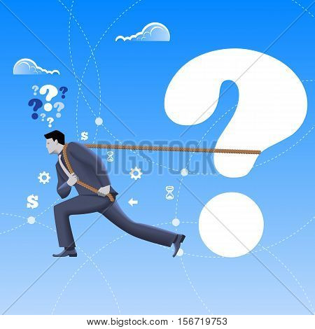 Problem solver business concept. Confident mighty businessman in business suit pulls big question mark alone. Vector illustration. Business analyst analysis problem and solution hard worker.