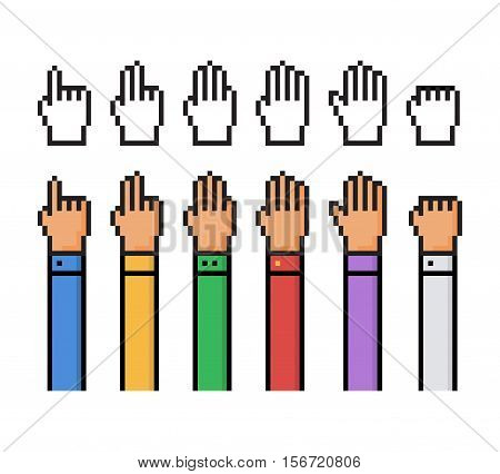 Set of pixel hand count from 0 to 5 - isolated vector illustration
