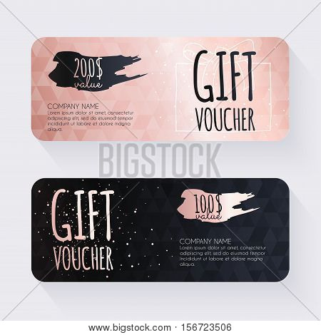 Gift Voucher Template With Rose Gold Gift Background, Gift Certificate. Background Design Gift Coupo