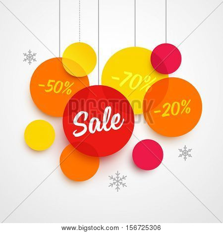 Vector christmas sale advertisement template. Transparent paper circles with different colors: yellow, red and orange. Labels SALE and discount percents.