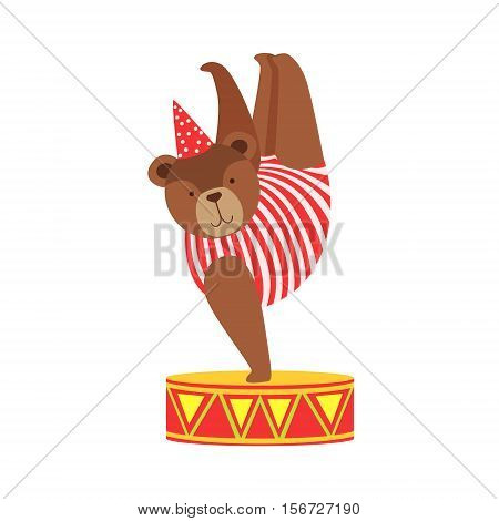 Circus Bear Animal Artist In Stripy Body Suit Performing Acrobatic One Hand Stand Stunt For The Circus Show. Colorful Cartoon Illustration From The Collection Of Entertainment Performers And Circus Arena Vector Drawings