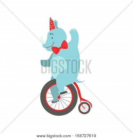 Circus Trained Rhinoceros Animal In Party Hat And Bow Tie Artist Performing Riding Vintage Bicycle Stunt For The Circus Show. Colorful Cartoon Illustration From The Collection Of Entertainment Performers And Circus Arena Vector Drawings