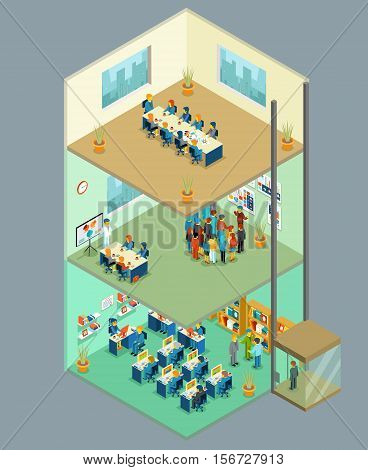 Isometric business center. Vector 3d office building with business people. Multilevel business center for teamwork, presentations and meetings illustration