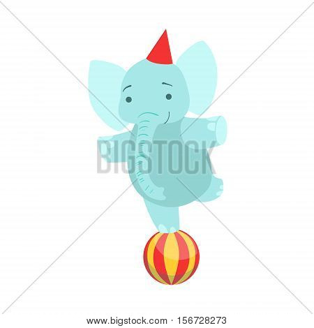 Circus Trained Elephant Animal Artist Performing Balancing On One Leg On The Ball Stunt For The Circus Show. Colorful Cartoon Illustration From The Collection Of Entertainment Performers And Circus Arena Vector Drawings