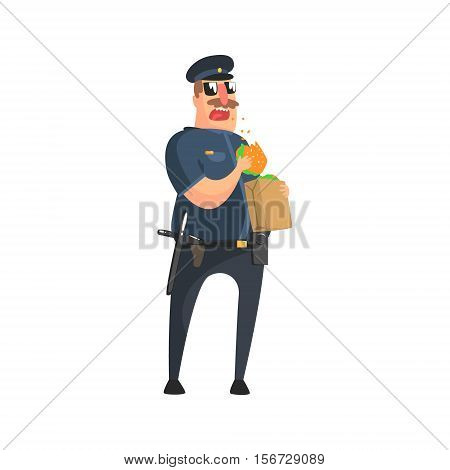 Policeman In American Cop Uniform With Truncheon, Radio, Gun Holster And Sunglasses Having Lunch From Paper Bag. City Police Officer Fun Cartoon Character In Classic Outfit On Duty Illustration.