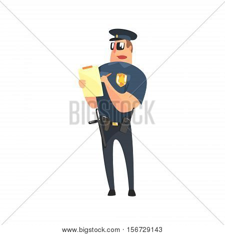 Road Policeman In American Cop Uniform With Truncheon, Radio, Gun Holster And Sunglasses Writing A Ticket. City Police Officer Fun Cartoon Character In Classic Outfit On Duty Illustration.