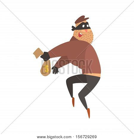 Criminal Wearing Mask Holding Money Cloth Bag Getting Away With A Crime Robbing The Bank. Cartoon Outlaw Character, From Bandit Vector Illustrations Collection.