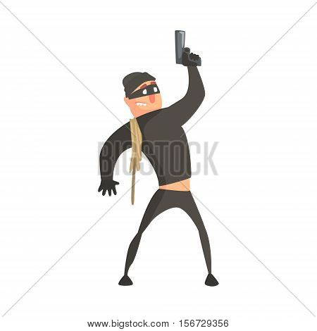 Criminal With Rope Wearing Mask Firing Gun In The Air Committing A Crime Robbing The Bank. Cartoon Outlaw Character, From Bandit Vector Illustrations Collection.