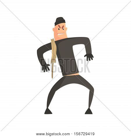 Criminal With Rope Pushed Aginst The Wall Committing A Crime Robbing The Bank. Cartoon Outlaw Character, From Bandit Vector Illustrations Collection.