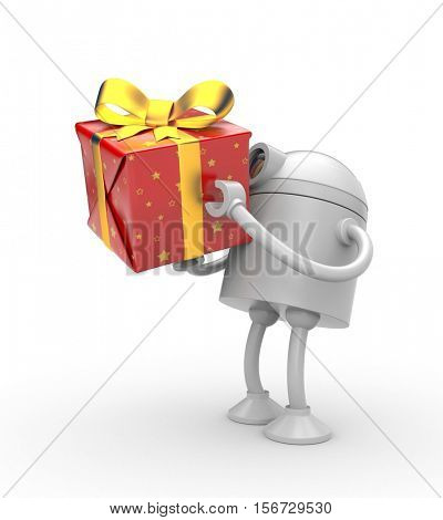 Robot with red gift box. 3d illustration