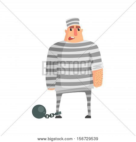 Criminal InStripy Prison Uniform Standing In Irons Caught And Convicted For His Crimes. Cartoon Outlaw Character, From Bandit Vector Illustrations Collection.