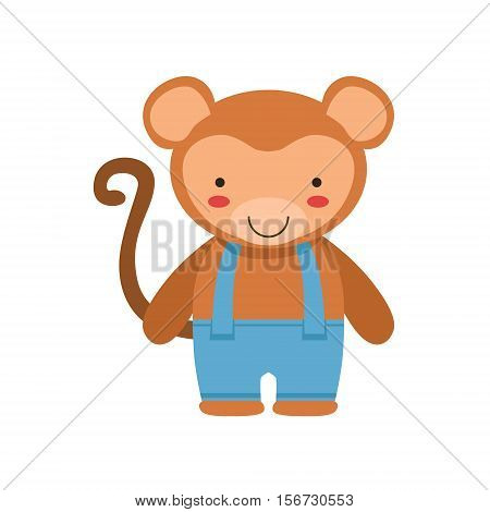 Monkey In Blue Pants With Suspenders Cute Toy Baby Animal Dressed As Little Boy. Part Of Adorable Standing Humanized Fauna Characters Collection Flat Vector Illustration.