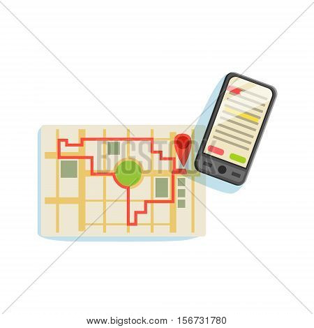 Smartphon And App To Plan The Running Route On The City Map Vector Illustration From The Fitness Essentials Collection. Object Related To Sportive Workout And Healthy Lifestyle Isolated Icon.