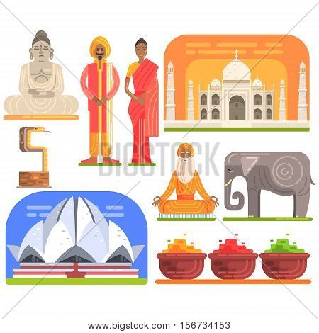 Famous Touristic Attractions To See In India. Traditional Tourism Symbols Of Indian Culture Including Clothing, Architecture And Religious Habits. Set Of Colorful Vector Illustrations With Travelling Destination Well-Known Objects.