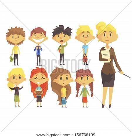 Elementary School Group Of Schoolchildren With Their Female Teacher In Suit Set Of Cartoon Characters. Primary School Class Kids Vector Stylized Illustration In Bright Colors.