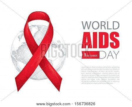 Vector illustration with red ribbon and earth planet isolated on white background. AIDS Awareness symbol in line drawing style. Design for world AIDS day 1 December with world map, ribbon and text.