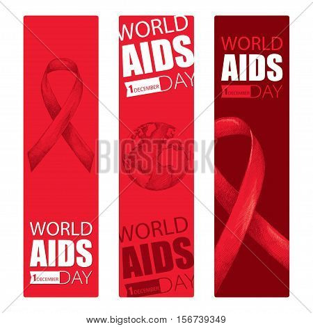 Vector design set with vertical banner with red ribbon and earth planet. AIDS Awareness symbols in sketch and line art style. Collection templates for AIDS day 1 December with ribbons and world map.