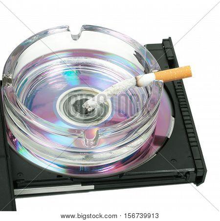 Ashtray Of Cigarette Butts Filter