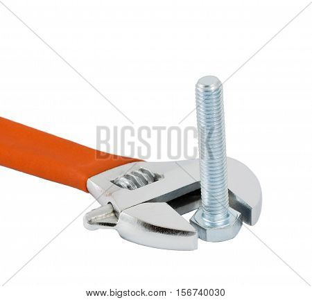 Adjustable Wrench And Bolt Isolated