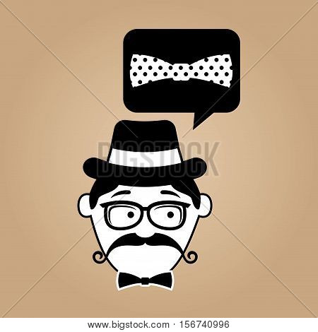 hipster style bow tie with dots vector illustration eps 10