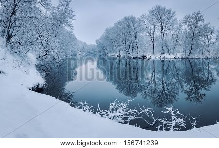 Colorful Landscape With Snowy Trees, Beautiful Frozen River At Sunset