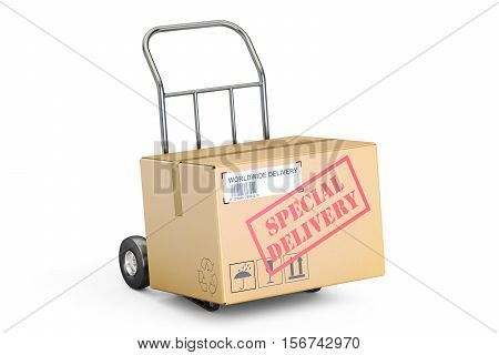 Special delivery concept. Cardboard box on hand truck 3D rendering isolated on white background