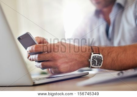 Business Man Hands Busy Using Mobile Phone