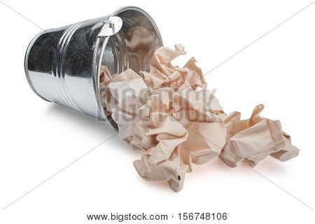 Inverted trash bin with trash on a isolated white background