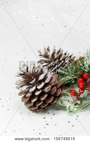 Pinecones In A Winter Christmas Scene. Vertical. Copy Space.