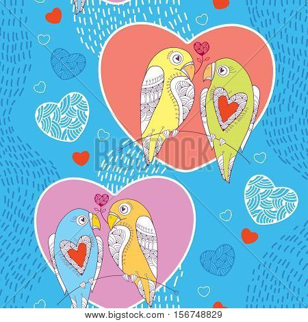 Vector seamless pattern with ornate parrot couple and heart on the blue striped background. Design elements and holiday symbols in contour style for Valentine day. Romantic background with cute parrots.