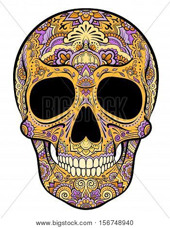 Vector colorful orange skull graphics with floral ornaments