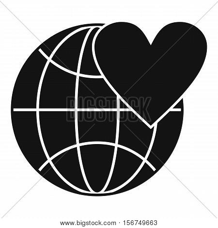 Earth world globe with heart icon. Simple illustration of globe with heart vector icon for web design