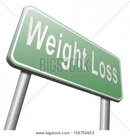 weight loss lose extra pounds by sport or dieting losing kilos road sign billboard 3D illustration, isolated, on white
