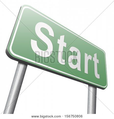 start new life or road to fresh begin, road sign billboard. 3D illustration, isolated, on white