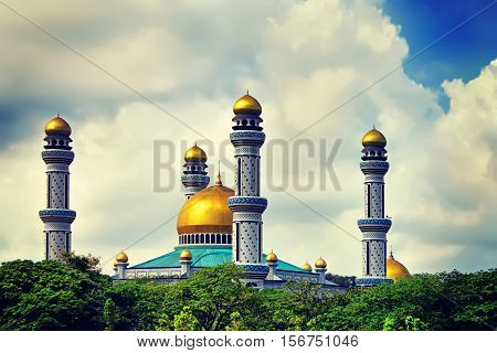 The Beautiful View of Jame Asr Hassanil Bolkiah Mosque with Green Plants in Front - Bandar Seri Begawan Brunei Southeast Asia
