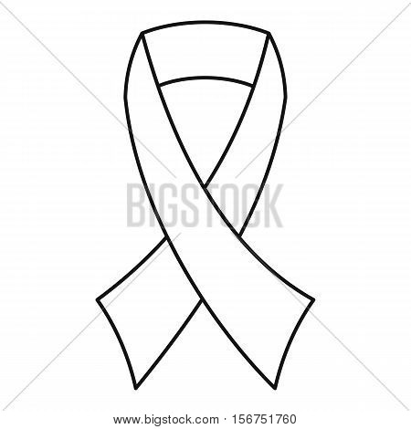 Breast cancer awareness ribbon icon. Outline illustration of breast cancer awareness ribbon vector icon for web design