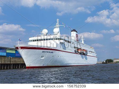 Cruise Ship Ms Deutschland At River Elbe