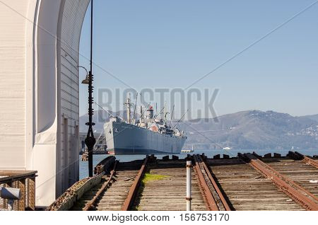 SAN FRANCISCO CALIFORNIA - MARCH 1 2015: SS Jeremiah O'Brien ship at San Francisco Bay