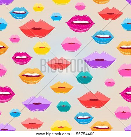 Bright vector pattern of colored lips on a light background