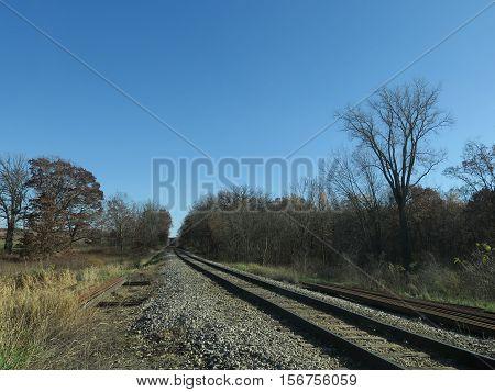Railroad Tracks in fall  bordering Stoney Ridge in Kettle Moraine Southern Unit