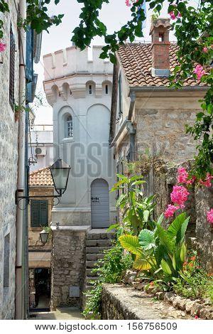 Herceg Novi Clocktower and alley in Old Town, Montenegro