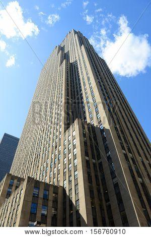 NEW YORK CITY - MAY 25, 2014: Rockefeller Center wide angle, midtown Manhattan, New York City, USA.