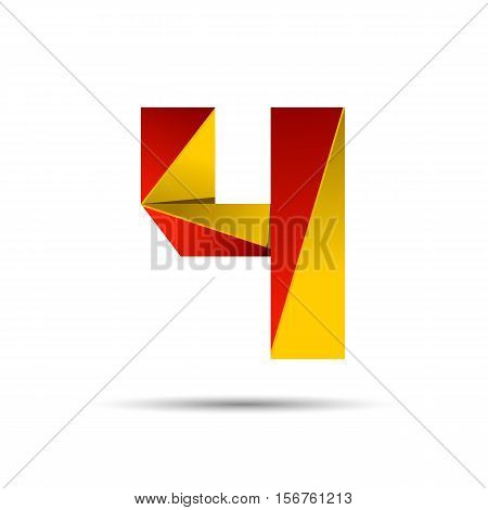 Number four 4 icon design template elements 3d logo. Red and gold glossy style. Vector design template elements for application or company.
