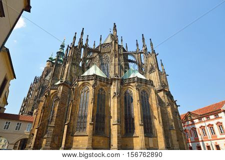 St. Vitus Cathedral christian gothic building in Prague