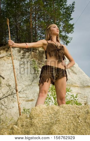 Prehistoric Woman With A Spear Hunting
